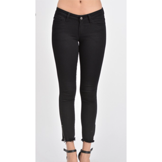Kancan Black Jeans with Side Zip at Ankle