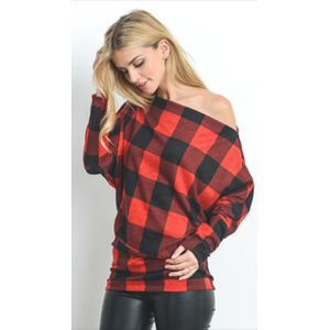 First Love Black/Red Buffalo Check off Shoulder Top