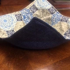 Bowl Cozy - Blues and Grays Print; Demin looking