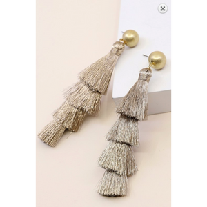 Dangling tiered metallic mocha tassel earrings