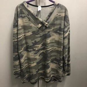 Perfectly Plus Criss Cross Detail Camo Print Tunic Top