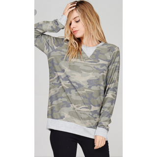 First Love Camo Top with Gray Detail