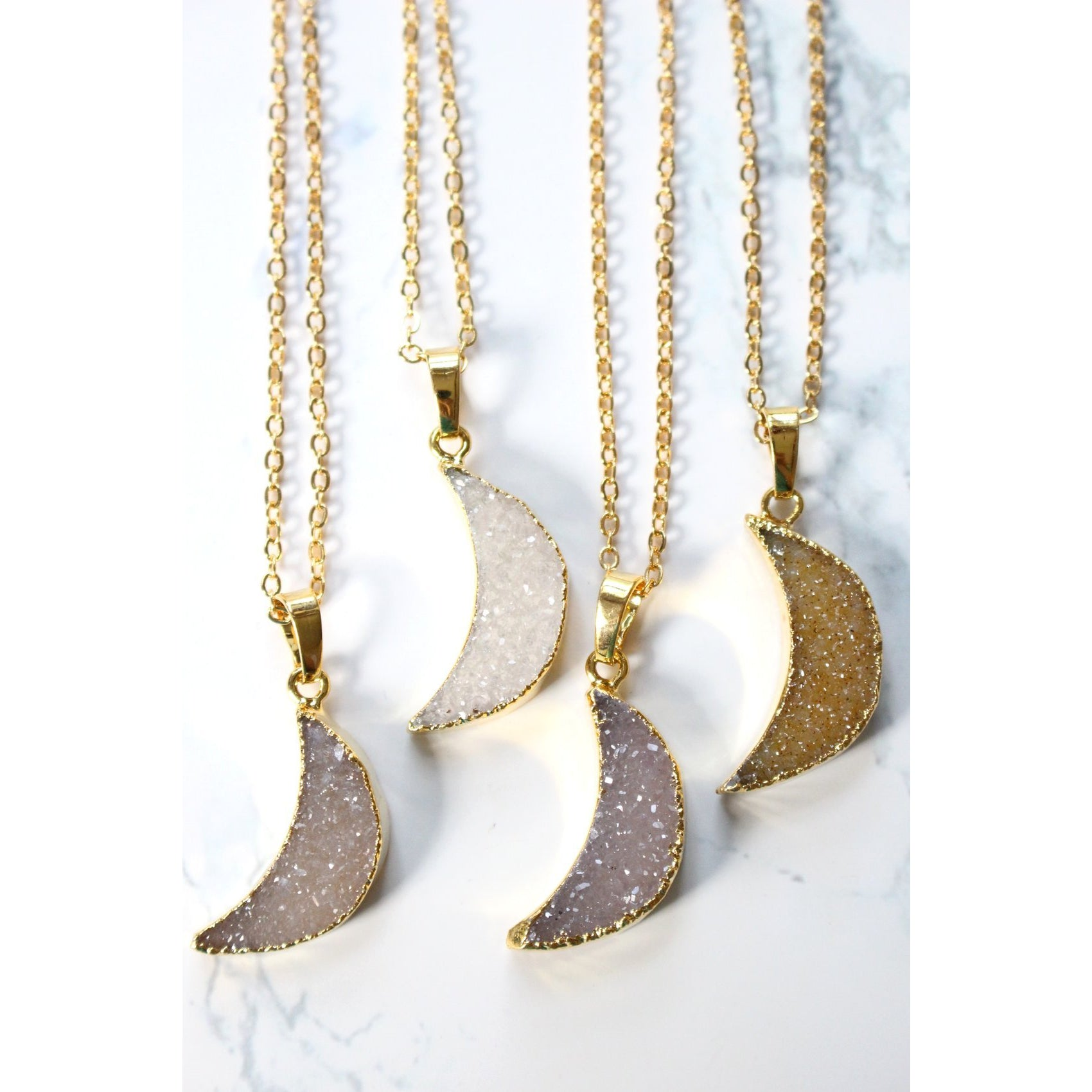 24K Gold Natural Gray Quartz Crescent Moon Necklace