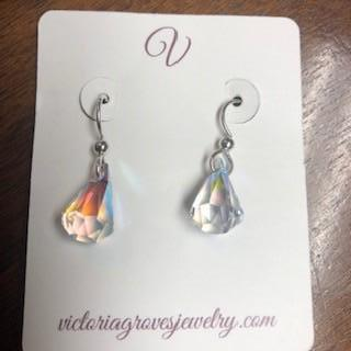 Dewdrop Aurora Borealis Clear Earrings