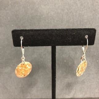 Sterling Silver and 14K Gold Fill Handmade Hammered Disc Earrings