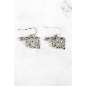 Silver tone Filigree earrings in the shape of Oklahoma