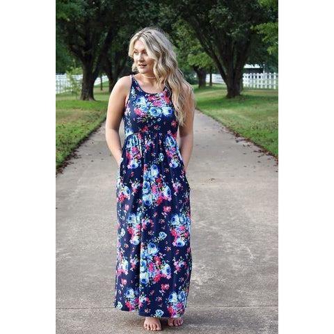Navy Floral Dress-Regular and Plus Size