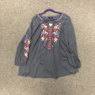 Gray Embroidered Boho Peasant Sleeve All Season Top PLUS