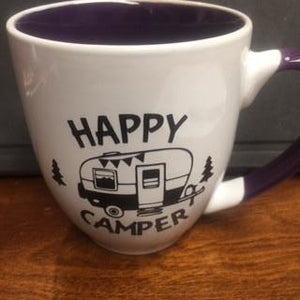 White and Purple Mugs with Fun Sayings