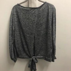 Perfectly Plus Ribbon Back Two Tone Knit Top