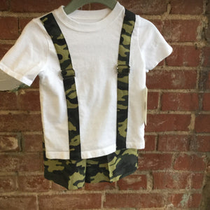 Boy's Camo T-Shirt with Bow Tie and matching Shorts