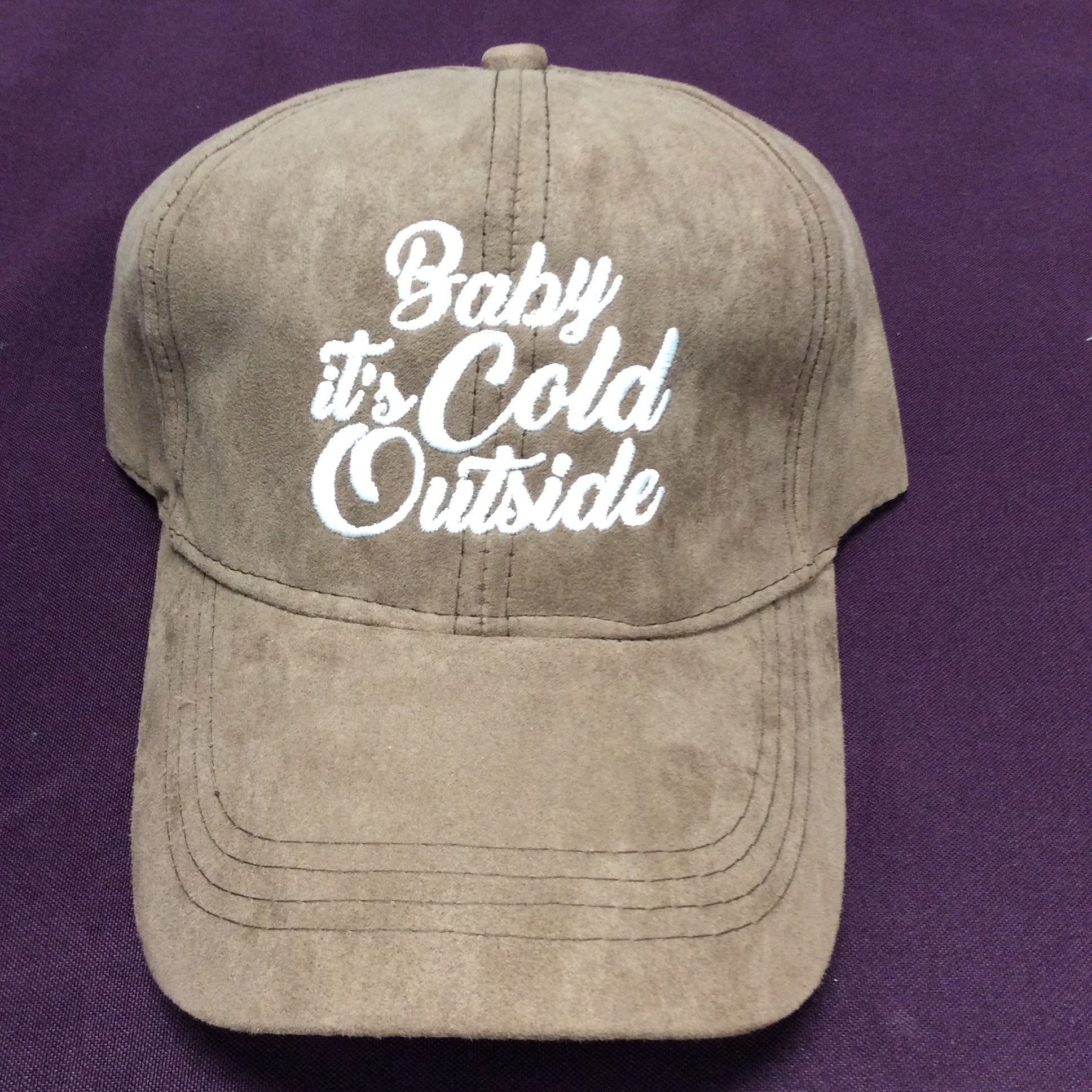 """Baby It's Cold Outside"" Suede Baseball Cap"