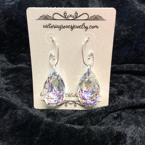 Crystal Pear with Patina Finish earrings