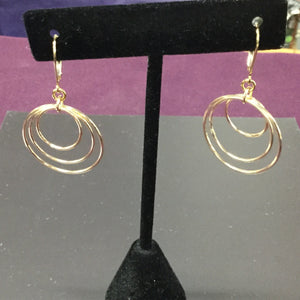 Handmade 14K gold fill triple hoops and Leverbacks
