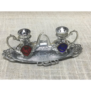 Vintage Silver Tray with Teapots Salt and Pepper Shakers