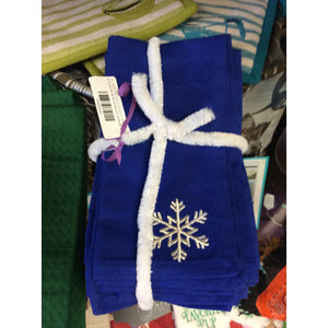 Blue Napkins With Silver Embroidered Snowflake- Set of 8