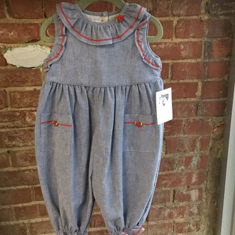 Denim Romper with red trim