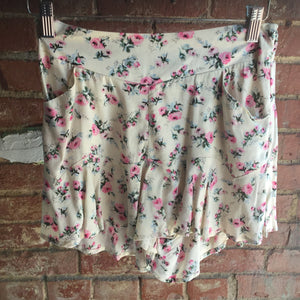 Ellison Flirty Floral Cream Ruffle Shorts
