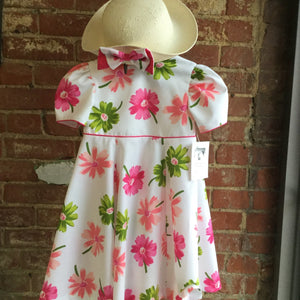 Pink floral dress and hat