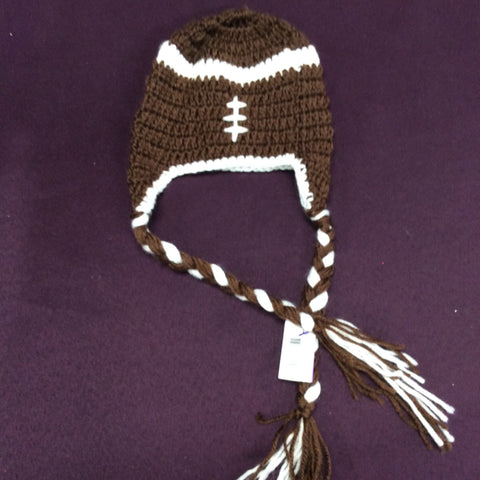 Brown Football Childrens Knitted Beanie