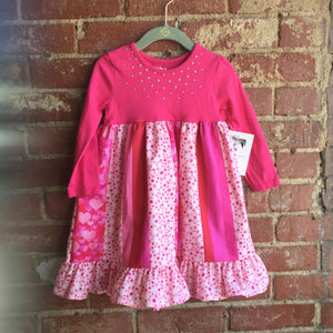 Pink Top Silver Studded Girl's Valentine's Dress