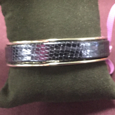 Embossed Leather Cuff on Rhodium or Gunmetal