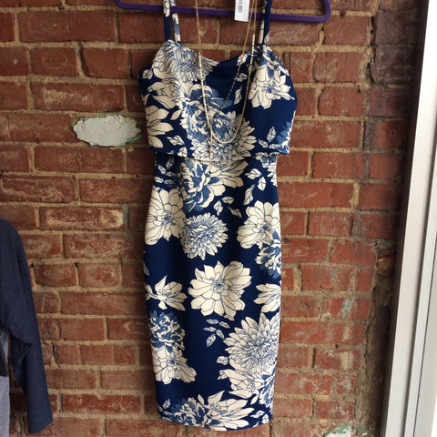 Foral Print Fitted Midi Dress