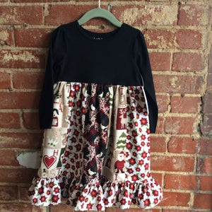 Holiday Fabric Dress with Black Long Sleeve Top