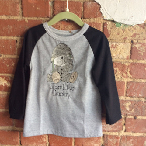 Gray with Black Raglan Sleeve Toddler T-Shirt with Military Baby