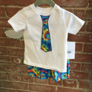 Boy's Tie Dye with Paw Print T-Shirt with Bow Tie and matching Shorts