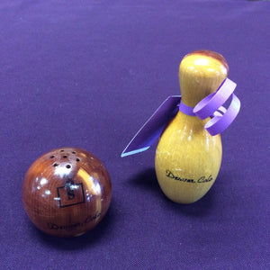 Wooden Bowling Ball and Pin Salt and Pepper Shakers