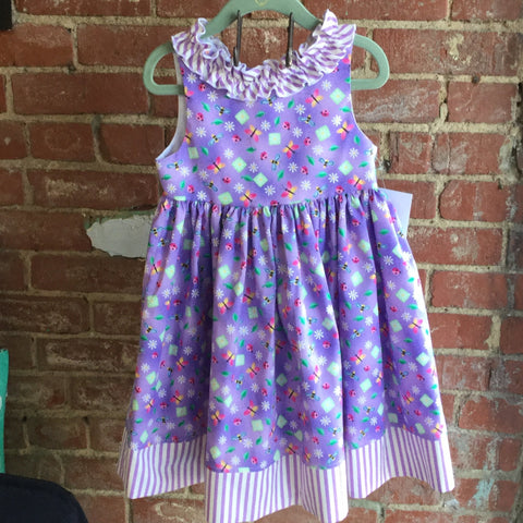 Purple Little Girls Garden Dress