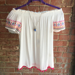 Lovestitch Embriodered Off Shoulder Gauze Top with Pom Detail