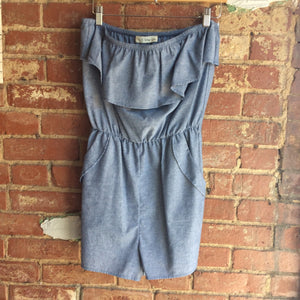 Denim Strapless Romper With Pockets