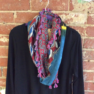 Handmade Infinity Scarf made from Men's Ties with Tassles