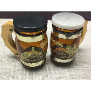 Vintage souvenir Tennessee glass mug with wood handle salt and pepper shakers