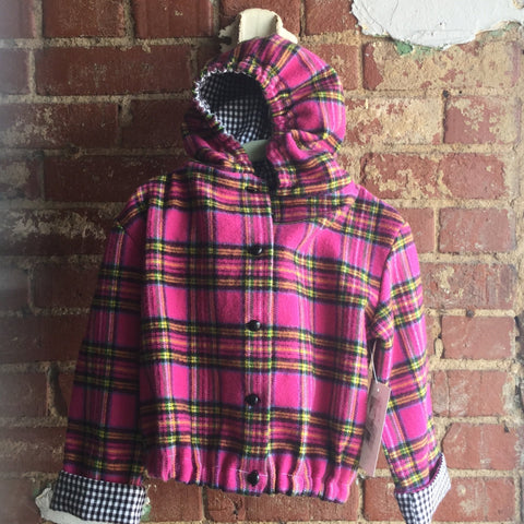 Pink plaid hooded jacket