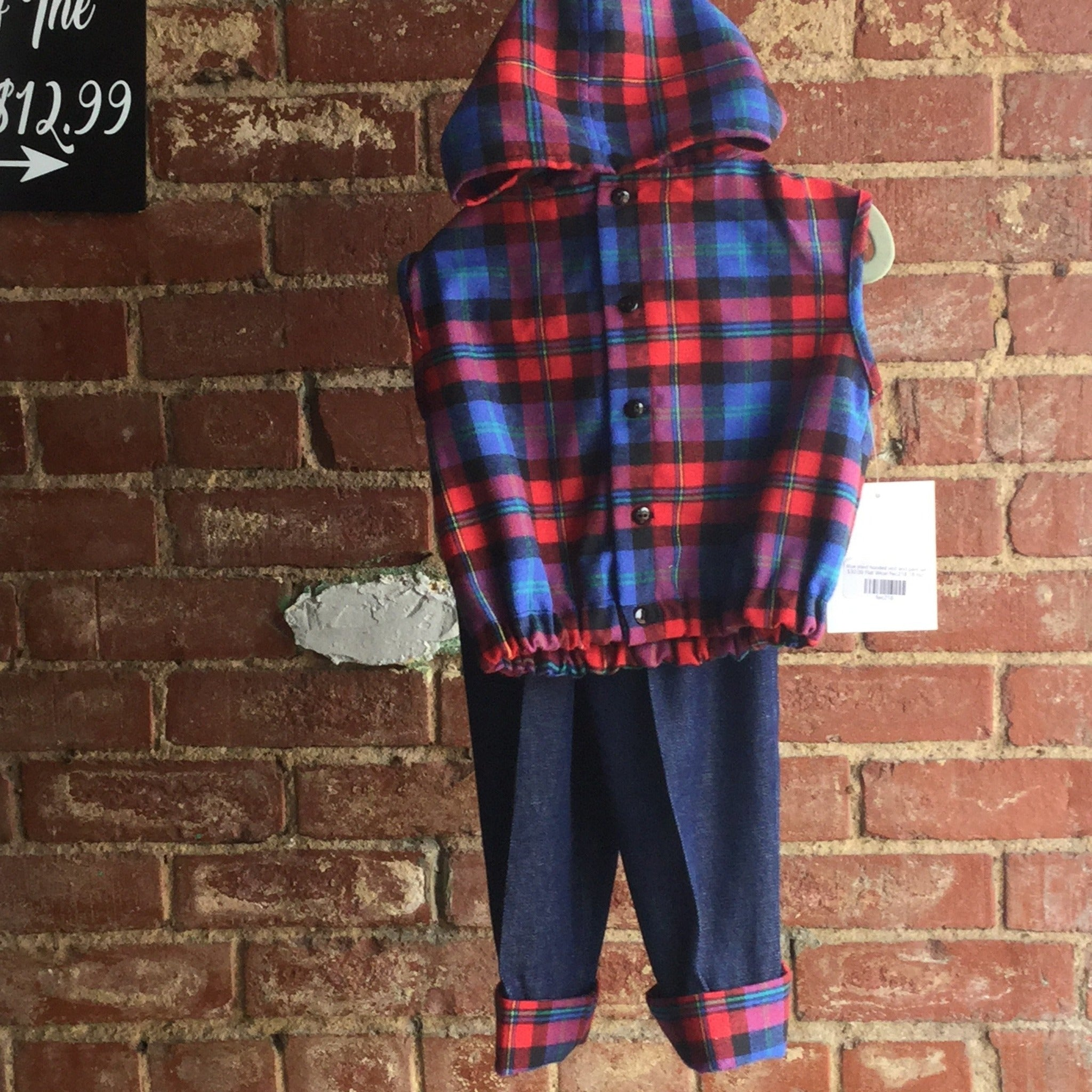 Blue plaid hooded vest and pant set