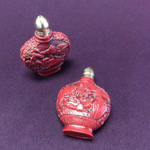 Red Vintage Chinese Salt and Pepper Shakers