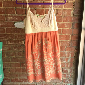 Cream Rust Crochet Scallop Hem Dress