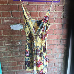Angie Yellow Floral Print Wrap Top Skirt Front Cami Romper