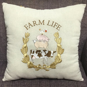 Cream Colored Farm Life Pillow