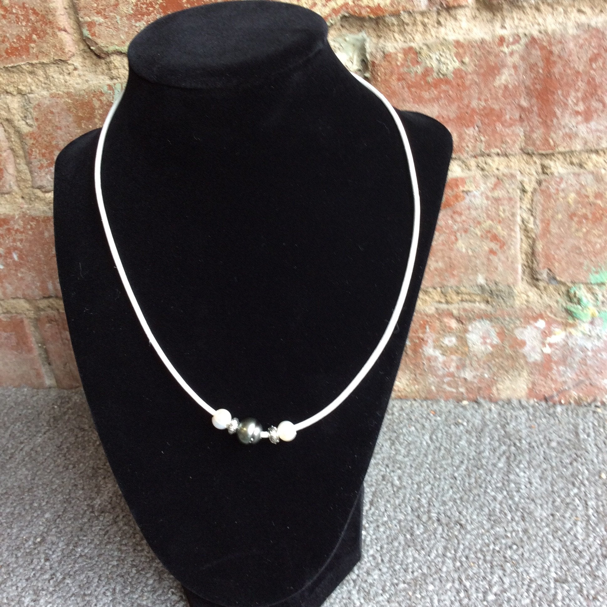 "18"" Tahitian Pearl and Metallic Gray Necklace"