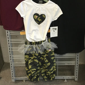 Girl's White T-Shirt with Camo heart and matching Camo Pants with tulle trim