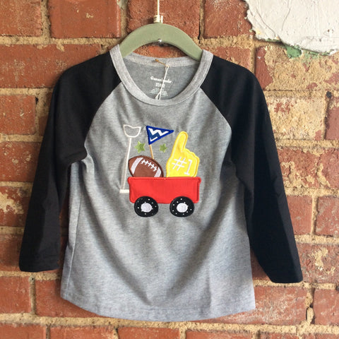 Gray with Black Raglan Sleeve Toddler T-Shirt with Red Wagon