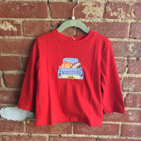 Red Long Sleeve Toddler T-Shirt with Pickup