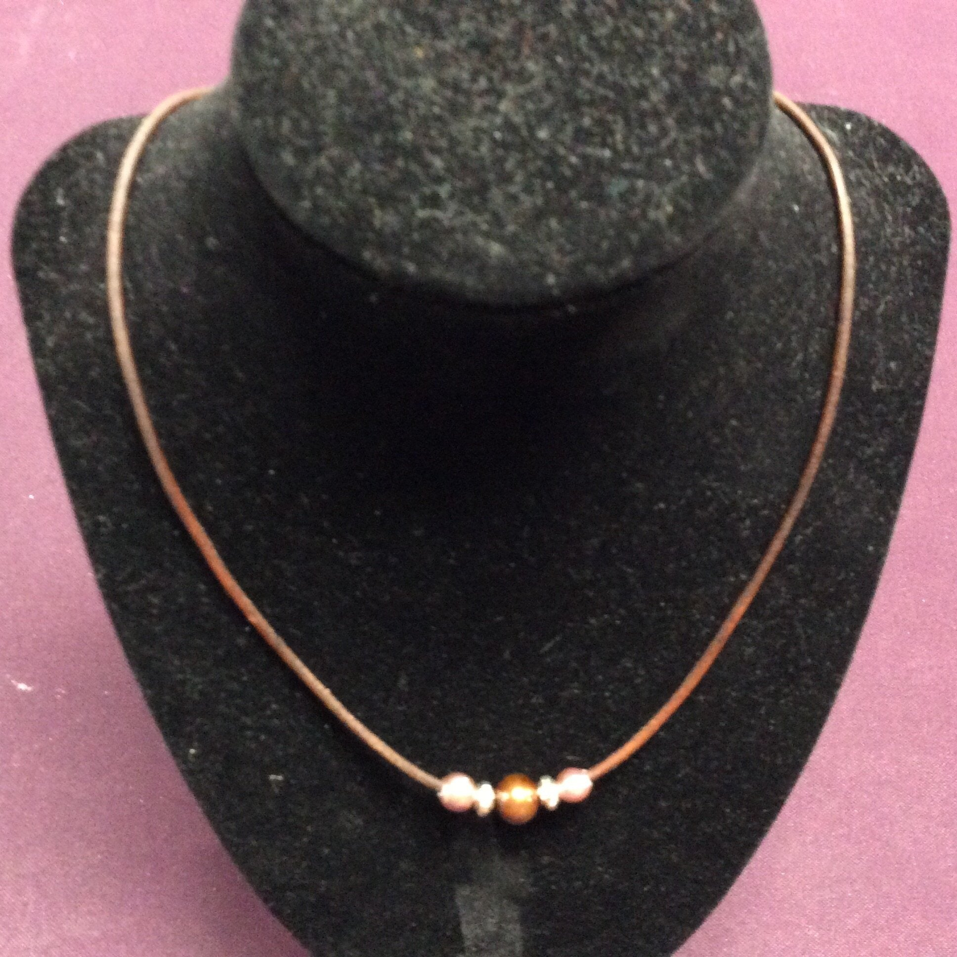 "18"" Chocolate Pearl and Brown Leather Necklace"