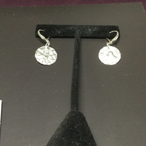 Sterling Silver Hammered Discs with Sterling Leverbacks