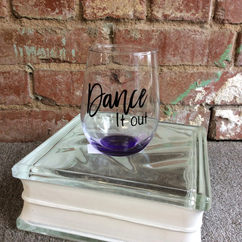 Purple Stemless Wine Glasses with Sayings