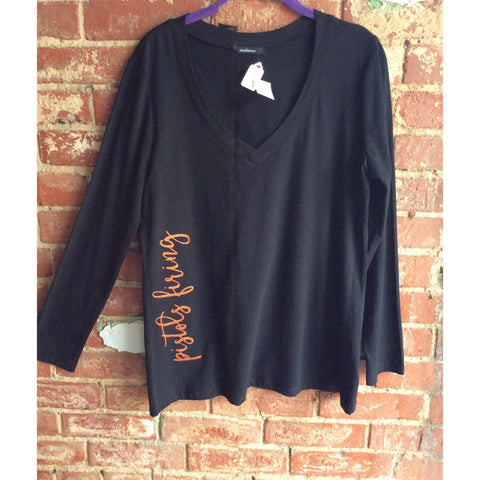 Long Sleeve V-Neck Tee with Collegiate Lettering